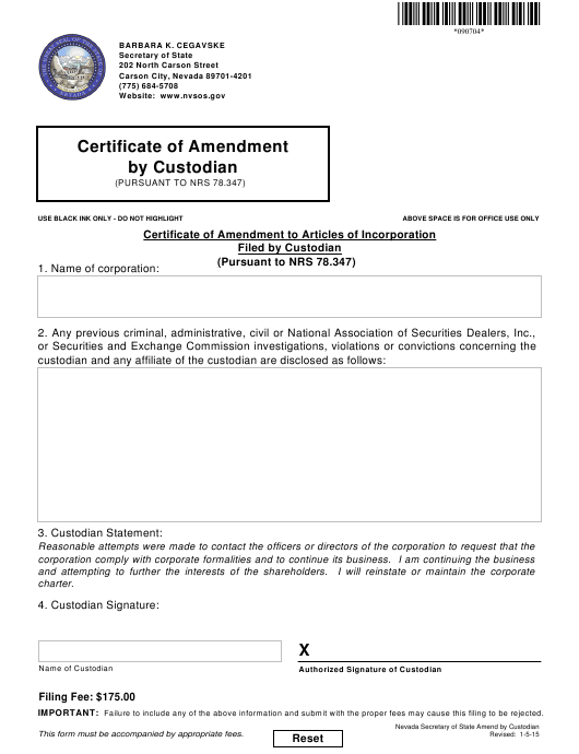 custodian form pdf certificate nrs amendment pursuant nevada fill packet complete templateroller printable