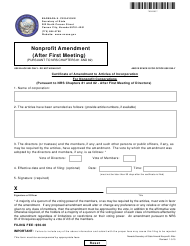 """Form 090905 """"Certificate of Amendment to Articles of Incorporation for Nonprofit Corporations (Pursuant to Nrs Chapters 81 and 82 - After First Meeting of Directors)"""" - Nevada"""