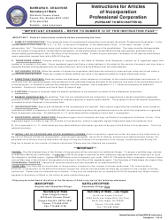 Form 040404 Articles of Incorporation - Professional Corporation - Nevada