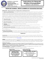 Form 040604 Nonprofit Articles of Incorporation - Nevada