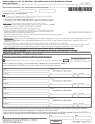 """Form 100504 """"Initial/Annual List of General Partners and State Business License Application"""" - Nevada"""