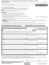 Form 100603 Initial/Annual List of Managing Partners and State Business License Application - Nevada