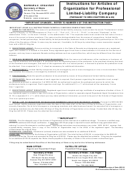 Form 050203 Articles of Organization - Professional Limited-Liability Company - Nevada
