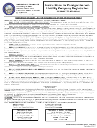 """Form 050303 """"Foreign Limited-Liability Company (Nrs 86.544) - Complete Packet"""" - Nevada"""