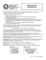 Limited-Liability Partnership Reinstatement Packet - Nevada