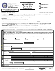 General Partnership Registration - Application or Renewal Form - Nevada