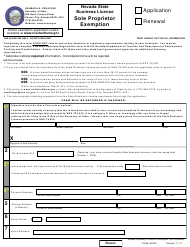 """Form BLSPE """"Sole Proprietor Notice of Exemption - Application or Renewal (Nrs 76)"""" - Nevada"""