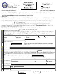 """Form BLOE """"other"""" Notice of Exemption - Application or Renewal - Nevada"""