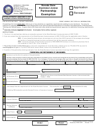 Form BLPE General Partnership Notice of Exemption - Application or Renewal - Nevada