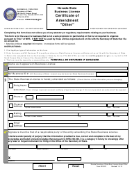 """Form BLCAO """"""""other"""" Certificate of Amendment (Nrs 76)"""" - Nevada"""