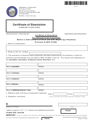 Form 130205 Certificate of Dissolution for a Nevada Profit Corporation - Before or After Issuance of Stock and After Beginning of Business - Nevada