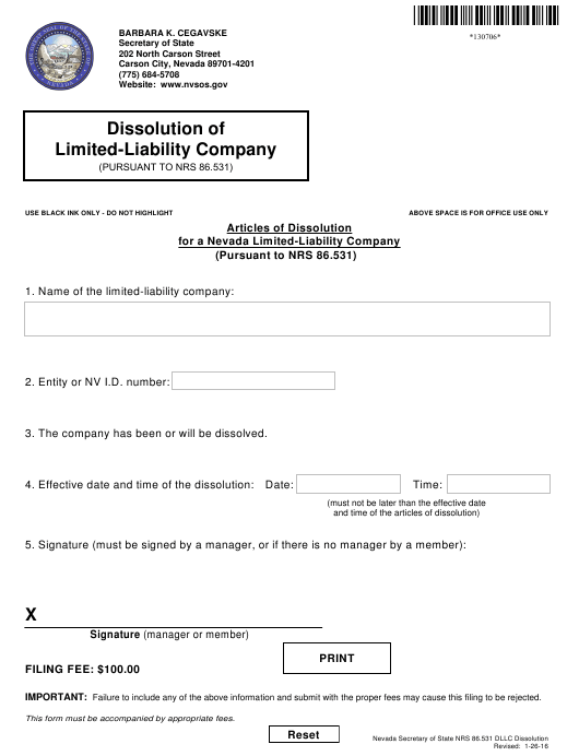 Form 130706 Download Fillable Pdf Or Fill Online Articles Of Dissolution For A Nevada Limited Liability Company Pursuant To Nrs 86 531 Nevada Templateroller