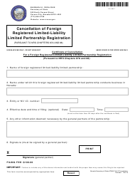 Form 131505 Certificate of Cancellation for a Foreign Registered Limited-Liability Limited Partnership Registration - Nevada