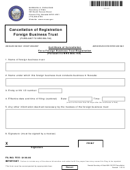Form 132105 Certificate of Cancellation for a Foreign Business Trust Registration - Nevada