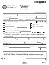 Form 250202 Request for Amended Certificate of Appointment as a Notary Public - Nevada