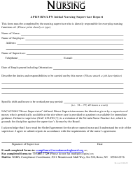 """Aprn/Rn/Lpn Initial Nursing Supervisor Report Form"" - Nevada"
