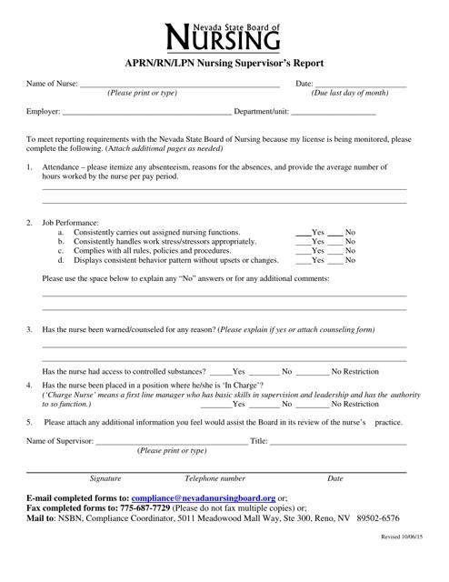 Aprn/Rn/Lpn Nursing Supervisor's Report Form - Nevada Download Pdf