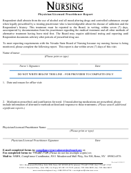 """Physician/Licensed Practitioner Report Form"" - Nevada"