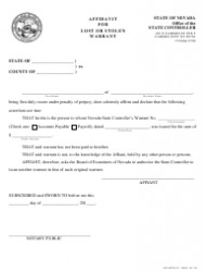 Form KTLOPS-01 Affidavit for Lost or Stolen Warrant - Nevada