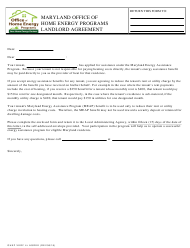 """""""Landlord Agreement Form - Office of Home Energy Programs"""" - Maryland"""
