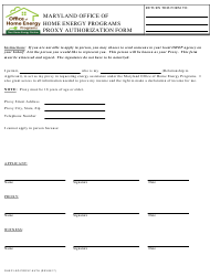 """Proxy Authorization Form - Office of Home Energy Programs"" - Maryland"