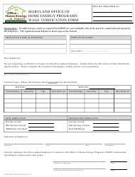 """Wage Verification Form - Office of Home Energy Programs"" - Maryland"