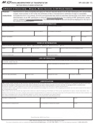 Form VR-450 Affidavit of Ownership - Moped, Motor Scooter & off Road Vehicle - Maryland