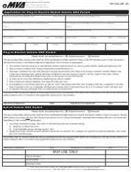 Form VR-335 Application for Plug-In Electric/Hybrid Vehicle Hov Permit - Maryland