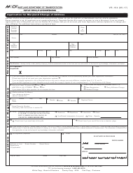 "Form VR-154 ""Application for Maryland Change of Address"" - Maryland"