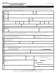 Form VR-154 Application for Maryland Change of Address - Maryland