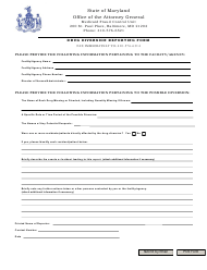 """Drug Diversion Reporting Form"" - Maryland"