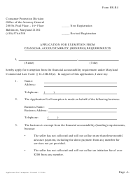 """Form Hs-R4 """"Application for Exemption From Financial Accountability (Bonding) Requirements"""" - Maryland"""