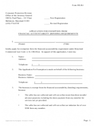 Form HS-R 4 Application for Exemption From Financial Accountability (Bonding) Requirements - Maryland