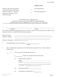"Form HS-R3 ""Statement of Compliance With Financial Accountability Requirement Under Maryland Commercial Law Code. 14-12b-02(E)"" - Maryland"