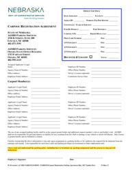 """Carpool Registration Agreement Form"" - Nebraska"