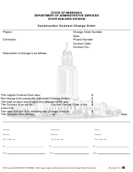 """Construction Contract Change Order Form"" - Nebraska"