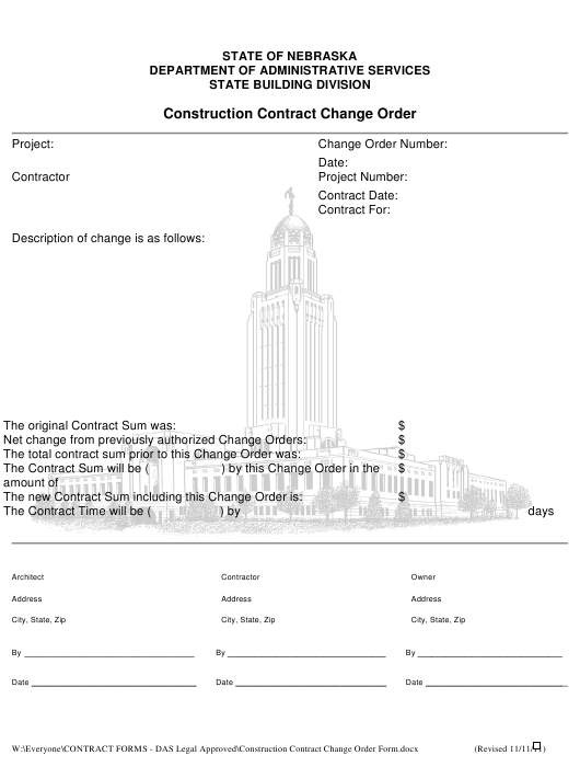 Construction Contract Change Order Form - Nebraska Download Pdf