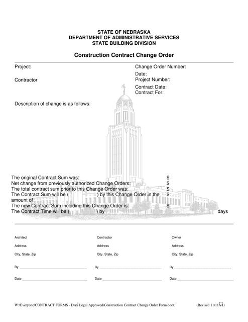 """Construction Contract Change Order Form"" - Nebraska Download Pdf"