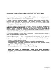 "Instructions for ""Change of Ownership of an Existing Child Care Program"" - Nebraska"