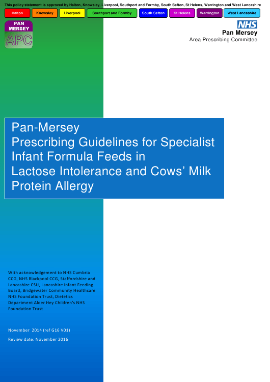 """""""Pan-Mersey Prescribing Guidelines for Specialist Infant Formula Feeds in Lactose Intolerance and Cows' Milk Protein Allergy"""" - United Kingdom Download Pdf"""