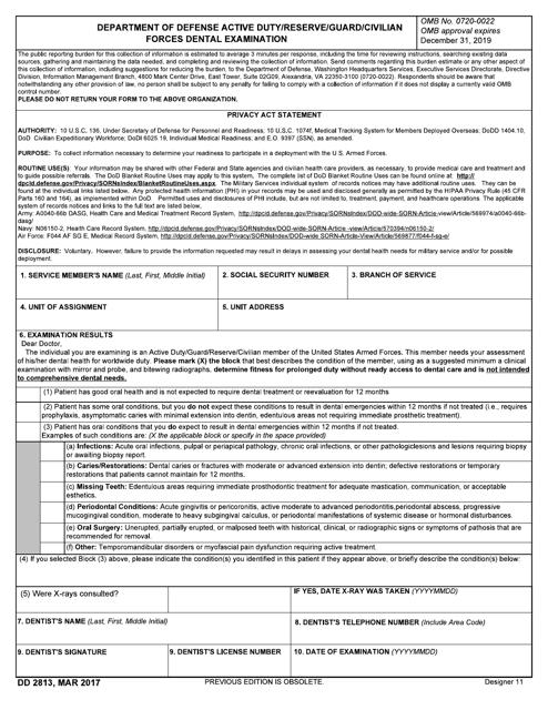 DD Form 2813  Printable Pdf