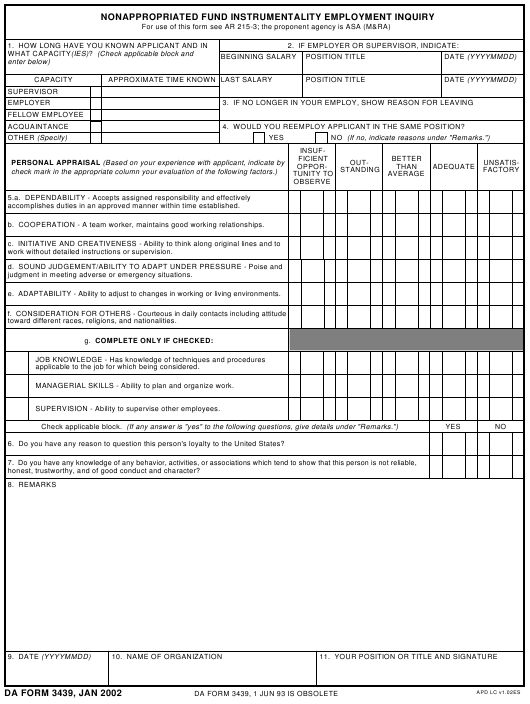 DA Form 3439  Fillable Pdf
