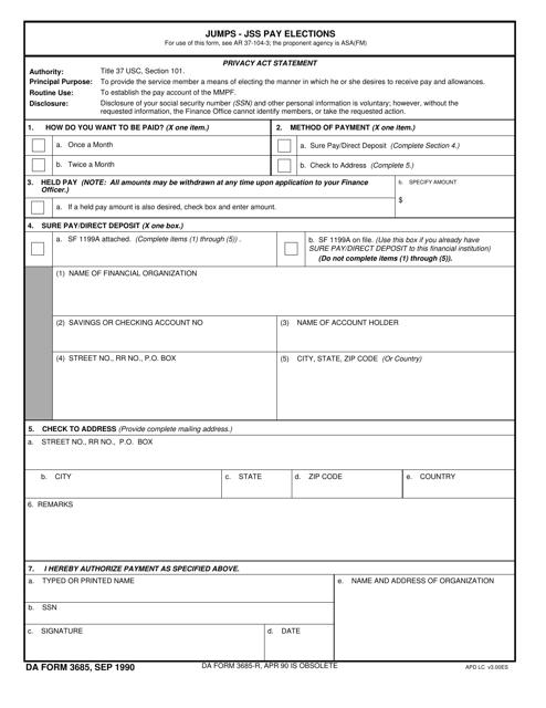 DA Form 3685 Fillable Pdf