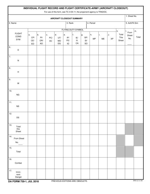 DA Form 759-1 Fillable Pdf