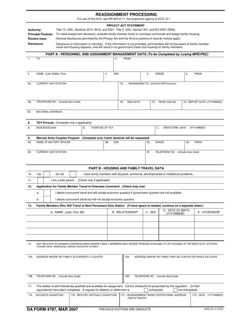 DA Form 4787 Fillable Pdf