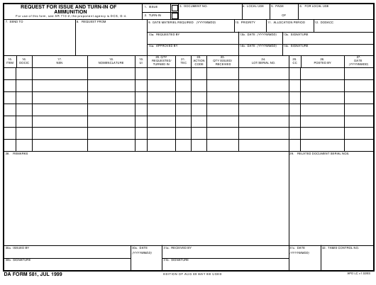 DA Form 581 Fillable Pdf