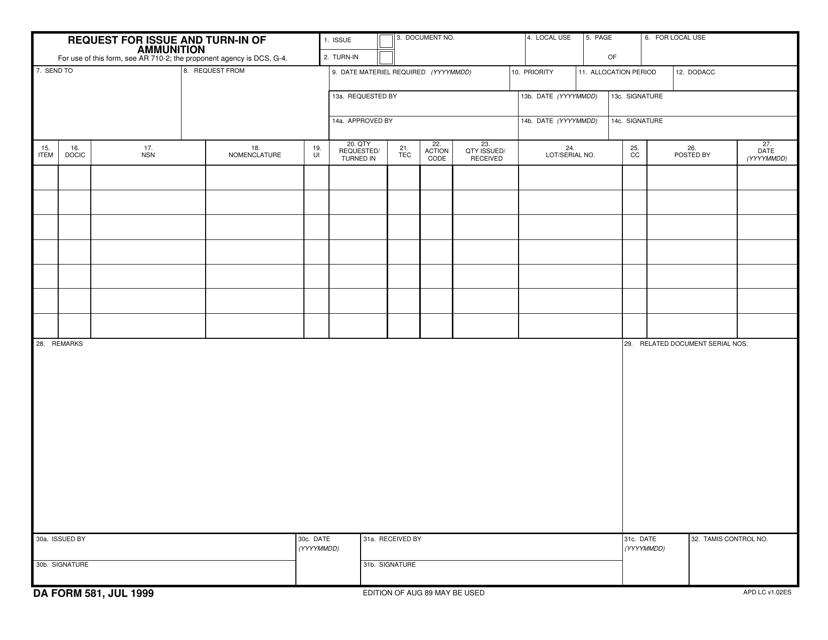 DA Form 581  Printable Pdf
