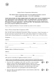 SBA Form 1010-ANC 8(A) Business Development (Bd) Program Application Alaskan Native Corporation-Owned Concern