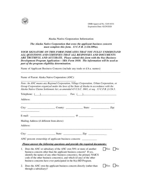 SBA Form 1010-ANC  Fillable Pdf