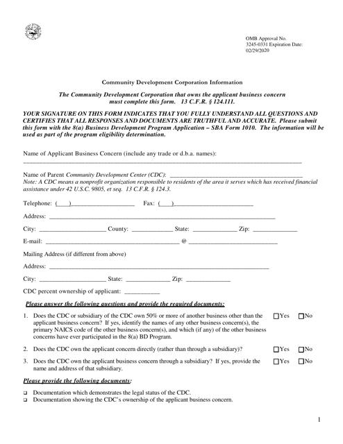 SBA Form 1010-CDC Fillable Pdf